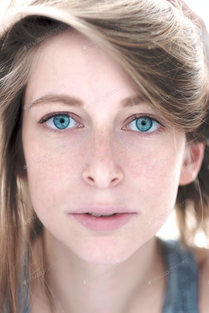 teen caucasian girl beauty face.