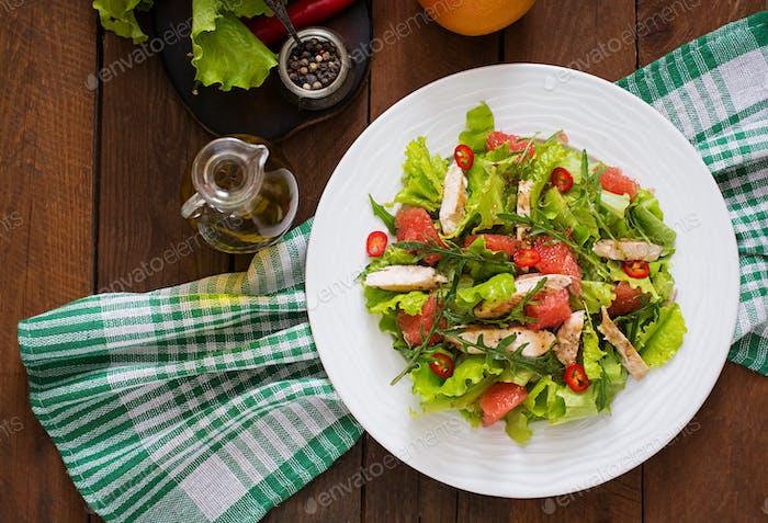 Fresh chicken salad, grapefruit, lettuce and honey mustard dressing.