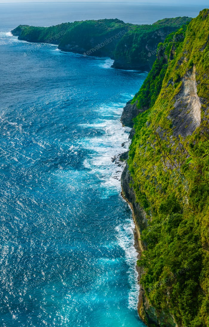 Rocky Costline near Kelingking Beach on Nusa Penida Island, Bali, Indonesia