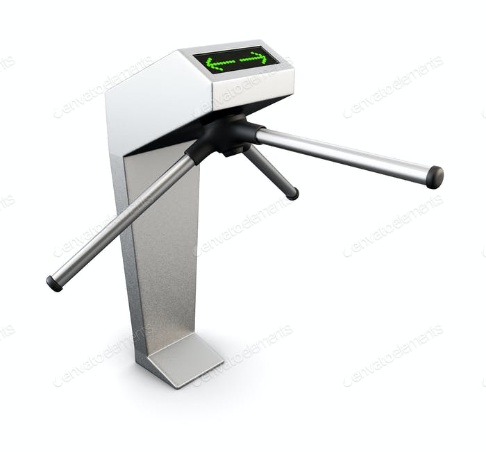 Automatic turnstile isolated on white background. 3d.