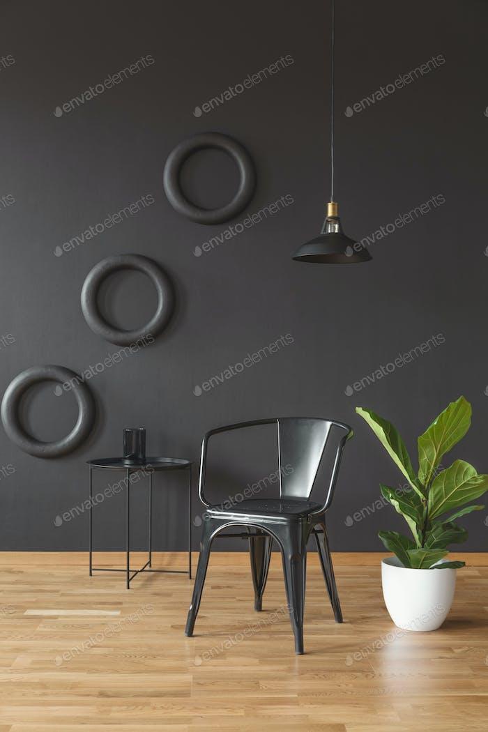 Dark black living room interior