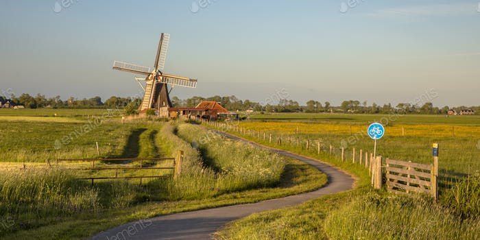 Wooden windmill with cycling track