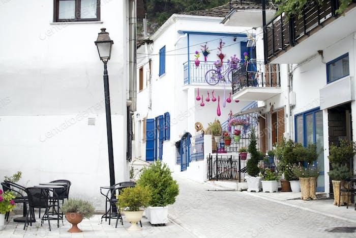 Beautiful street on Thassos Island, Greece