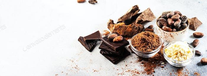 Organic cocoa butter, cocoa beans, grated cocoa