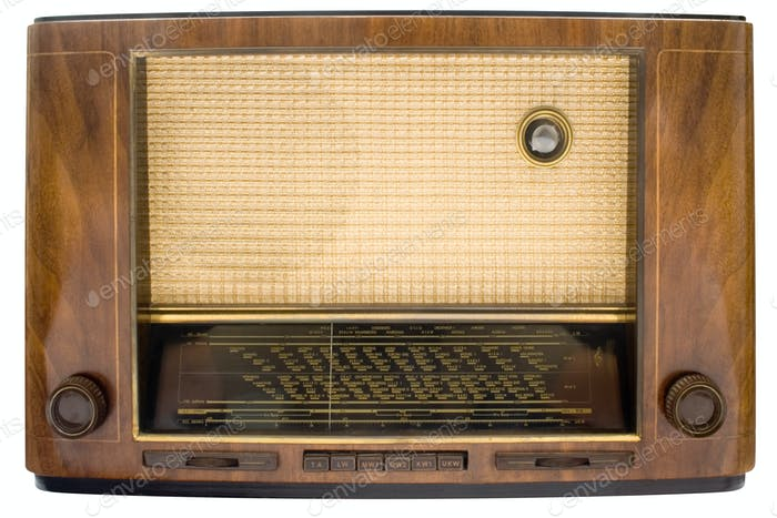 Vintage Tube Radio with Clipping Path Isolated on a White Background