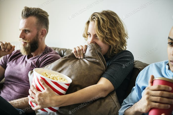 Friends watching movie together