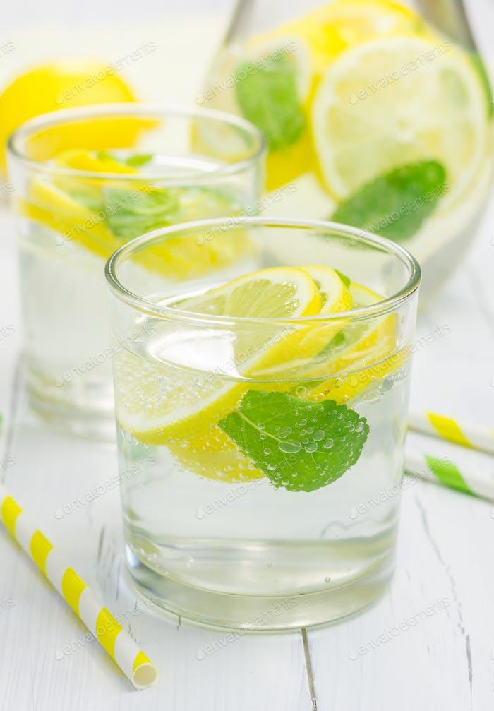 Homemade lemonade with fresh lemon and mint