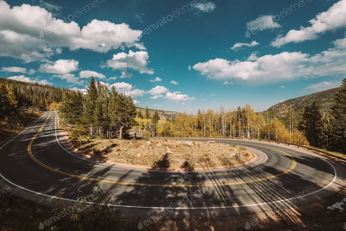 Hairpin turn at autumn in Colorado, USA.