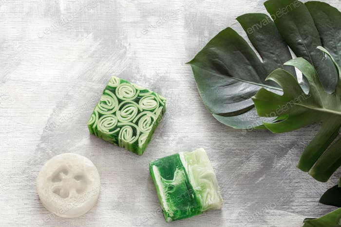 Flat-lay natural bright beautiful cosmetics handmade soap.