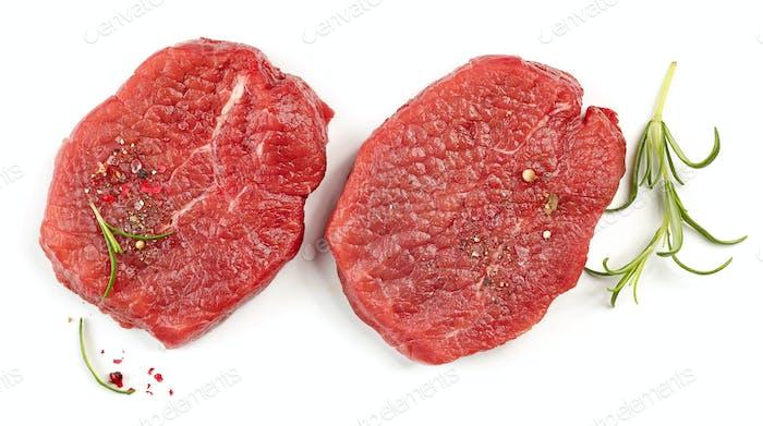 fresh raw fillet steaks