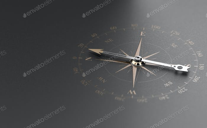 Business Guidance Or Orientation Concept. Compass over Black Background