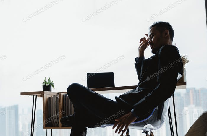 businessman person working from home with computer laptop on online cyberspace technology