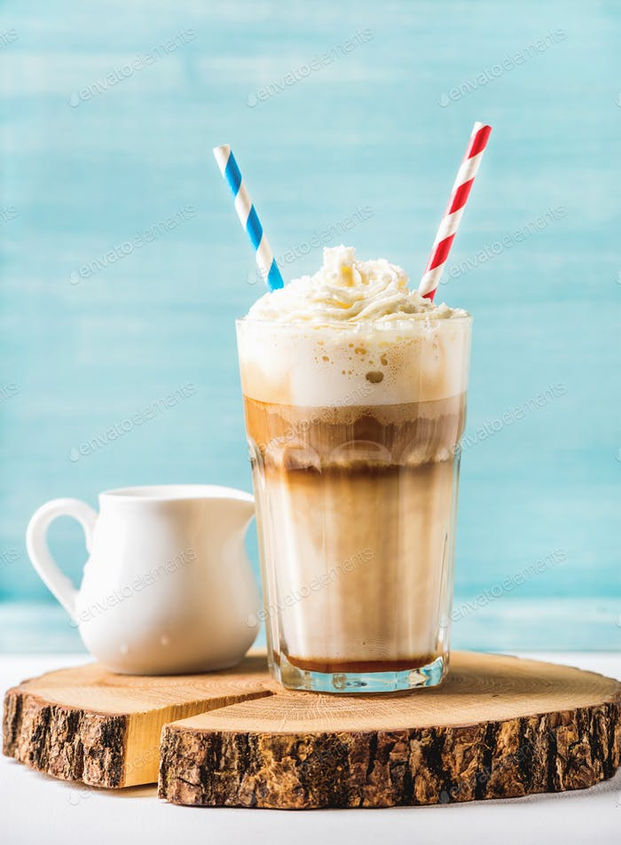 Latte macchiato with whipped cream