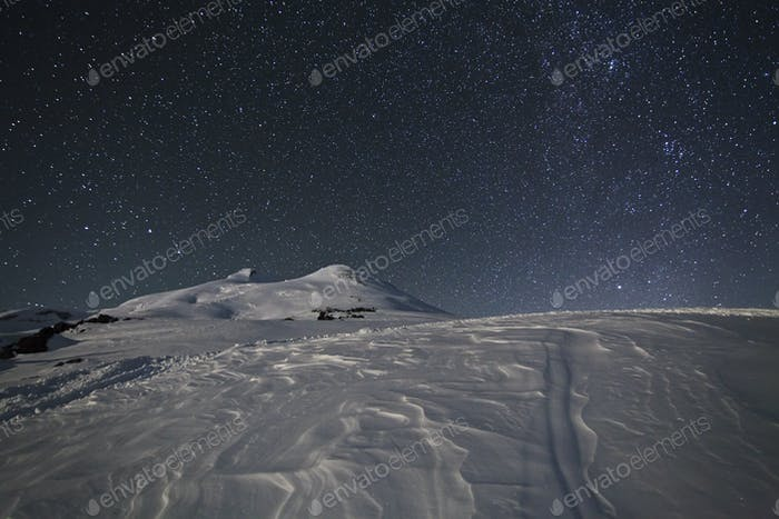 Starry sky above Elbrus, Caucasus Mountains