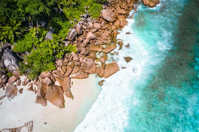 Aerial drone photo of Seychelles tropical beach Anse Marron at La Digue island