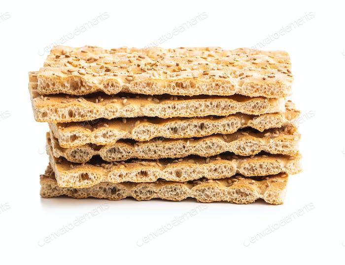 Knackebrot. Wholegrain crispbread with sesame seeds