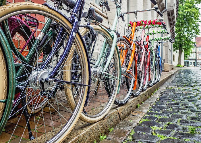 A Row of Colourful Bicycles