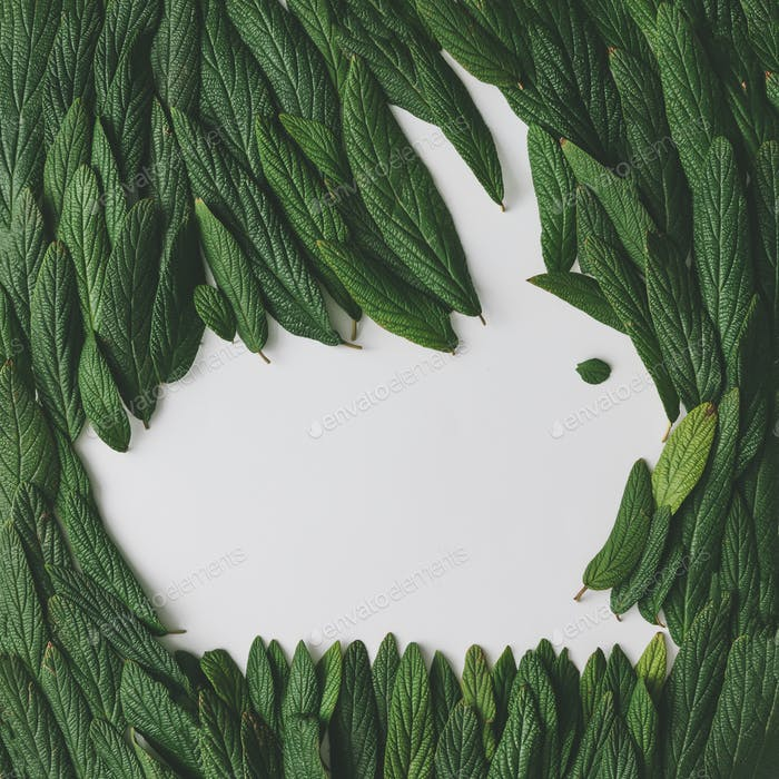 Easter bunny made of green leaves. Flat lay. Nature spring concept.