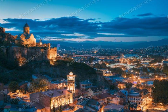 Tbilisi, Georgia. Narikala Ancient Fortress And St. Nicholas' Ch