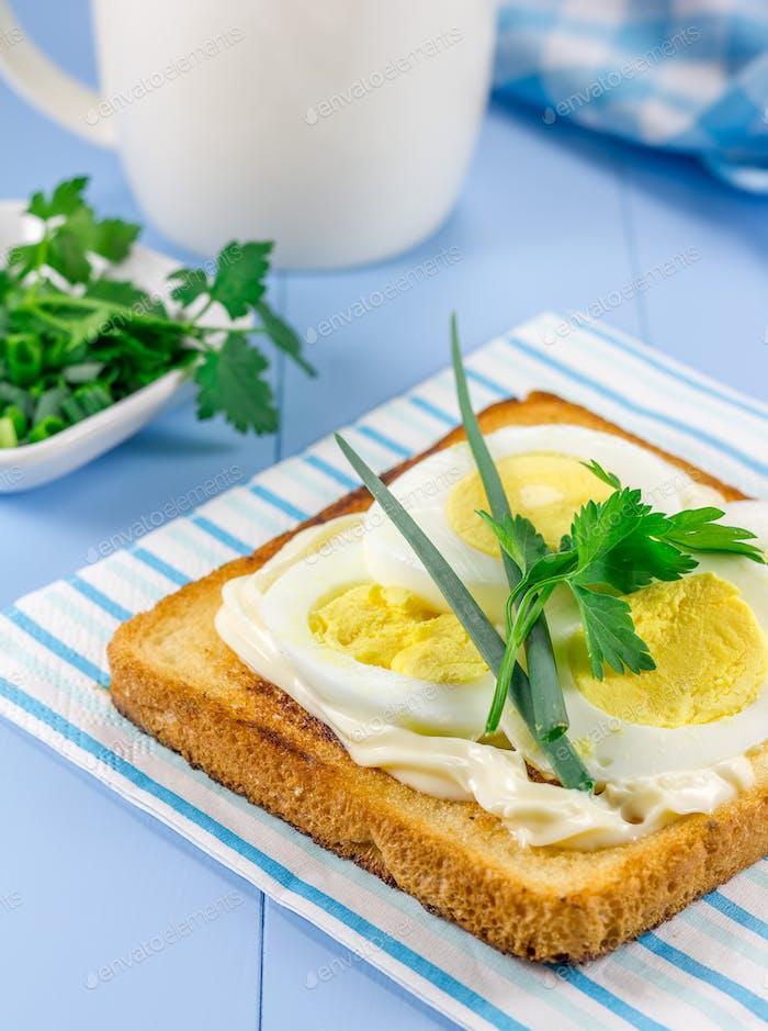 Frühstückssandwich mit Eiern, Parsly und Frühlingszwiebeln