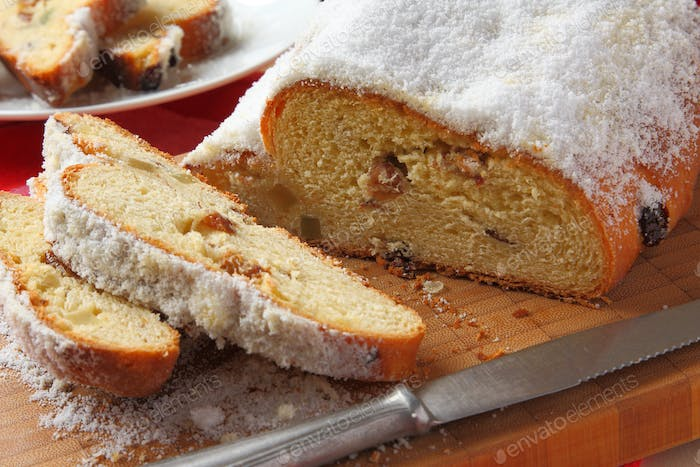 Traditional German homemade stollen with dried fruits