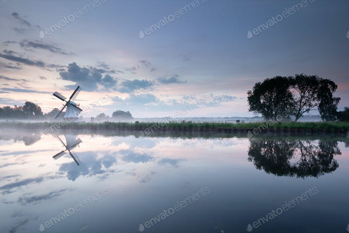 white windmill by river with sky reflection