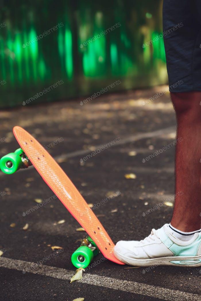 Closeup photo of skateboard
