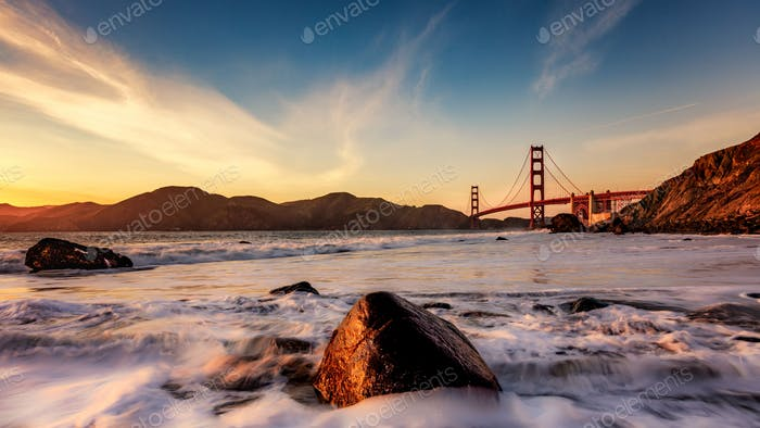 golden light on the golden gate bridge