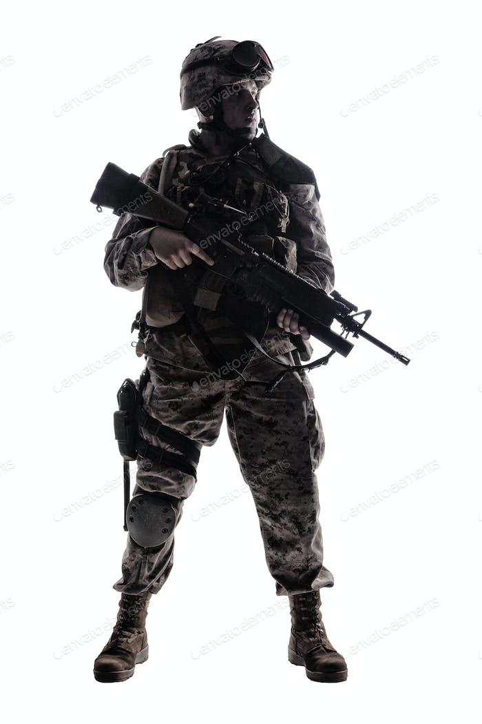 Moderne Armee Infanterier Low Key Studio Shooting
