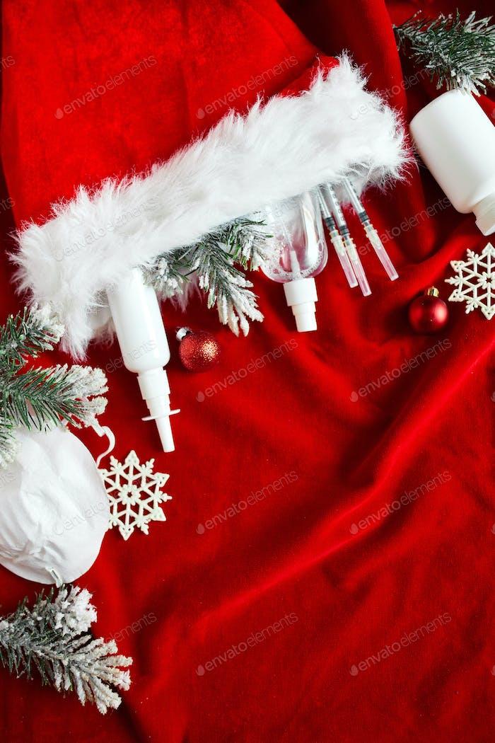 Christmas medical coronavirus flat lay