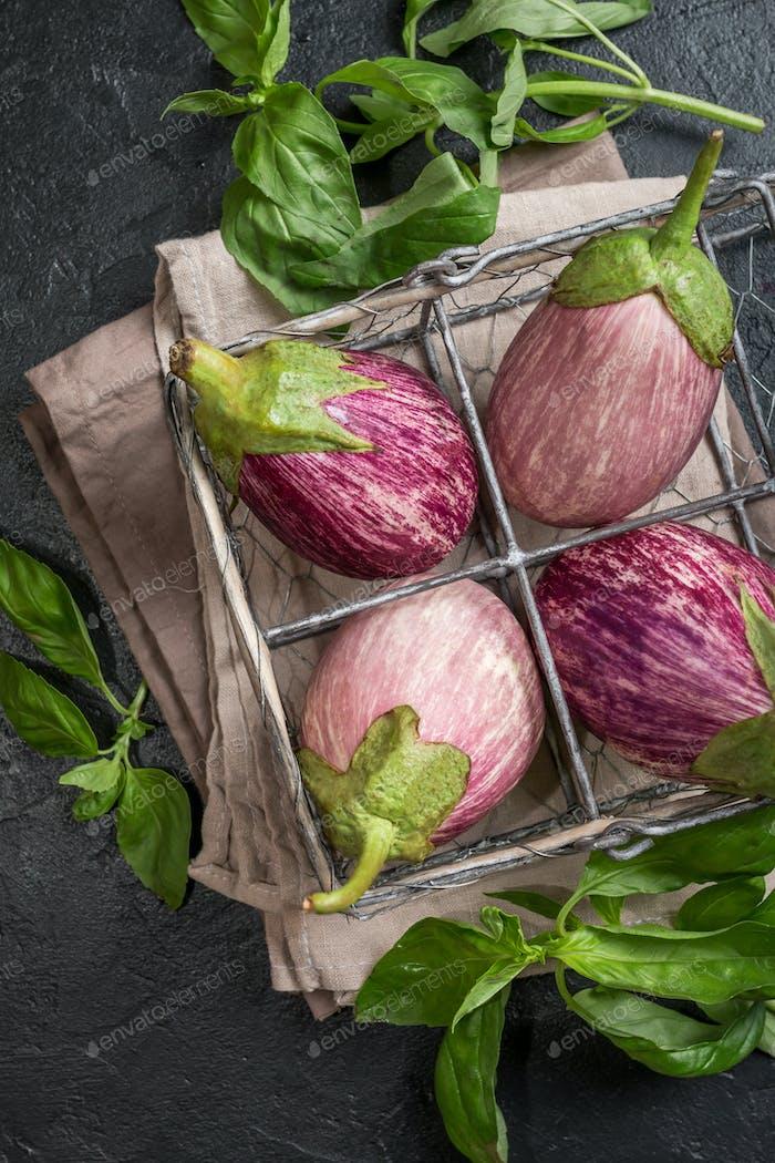 Eggplant varieties in metal basket