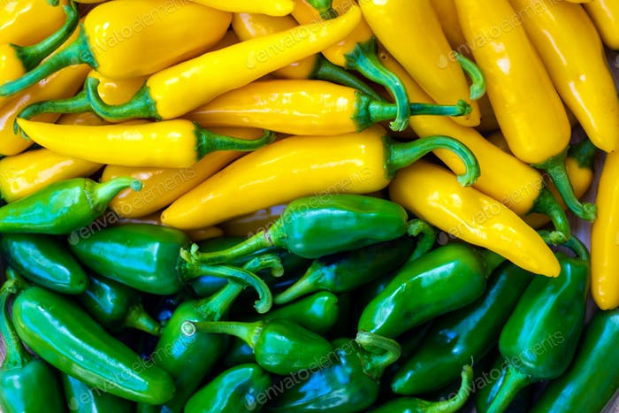 Yellow hot peppers closeup