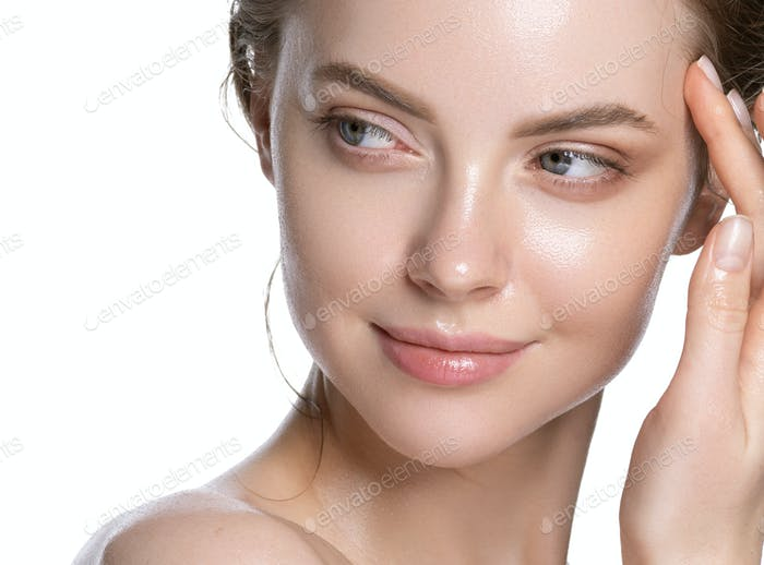 Young portrait view, touching head woman healthy hydration clean skin face. Isolated white