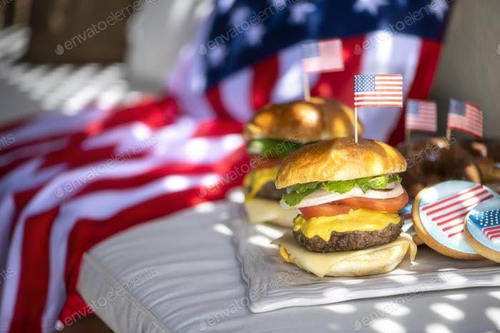 American burgers and sweets for the fourth of July, independence day