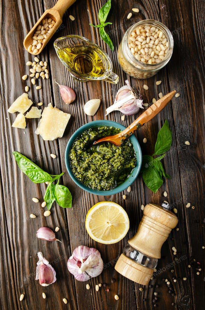 food background of genovese pesto