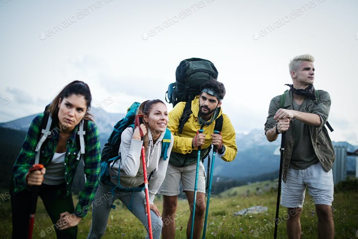 Hard, difficult, tiring and exhausting expedition of four friends in wild