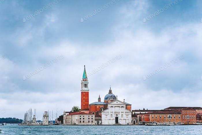 Venice, Italy. Chiesa di San Giorgio Maggiore or San Giorgio Maggiore island against blue sky with