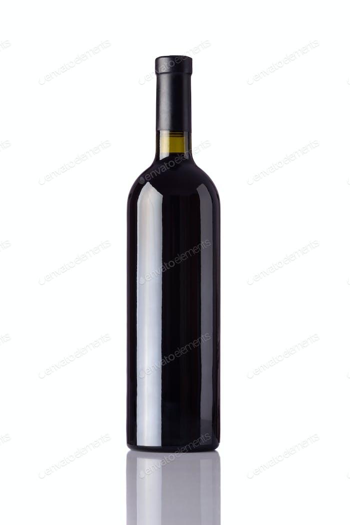 Bottle Red Wine on White Background