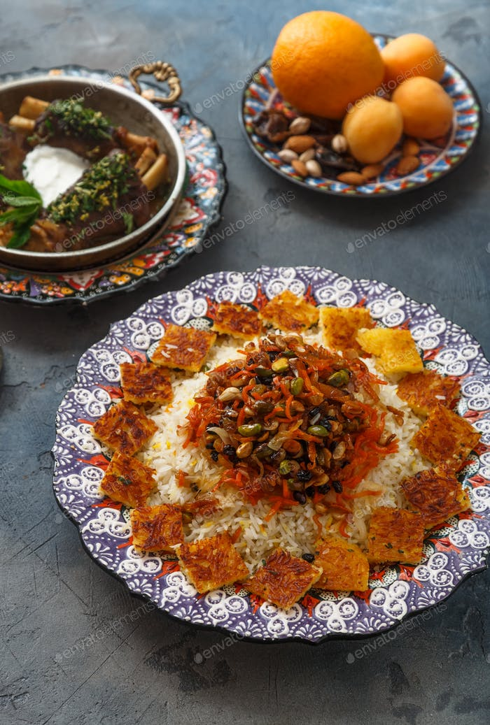 Persian jewelled rice with lamb, orange and apricots
