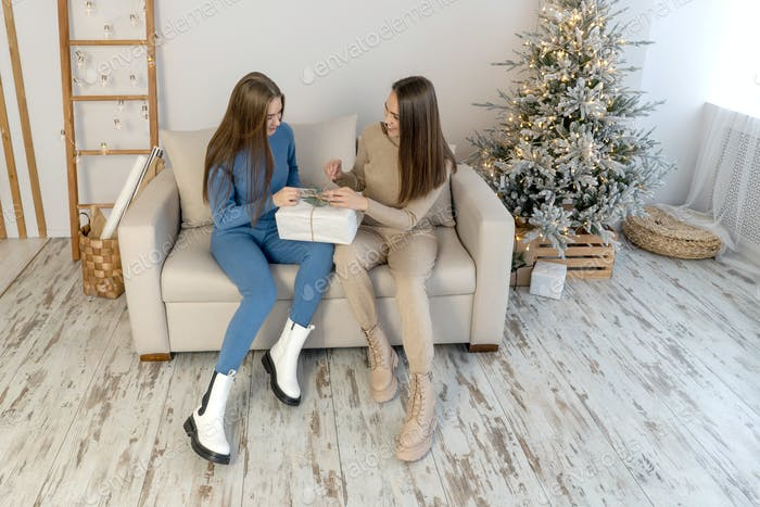 Women Exchanging Christmas Gifts near christmas tree