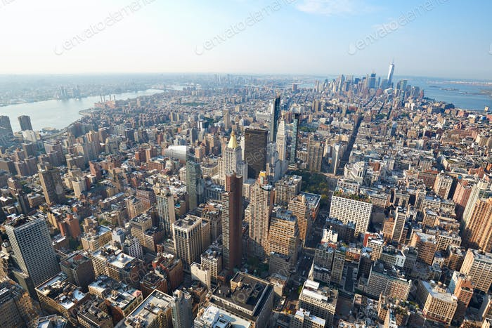 New York City Manhattan aerial view with skyscrapers