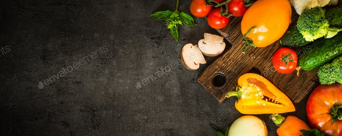 Healthy food background on black table