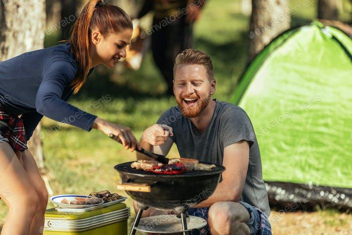 Having fun making barbecue
