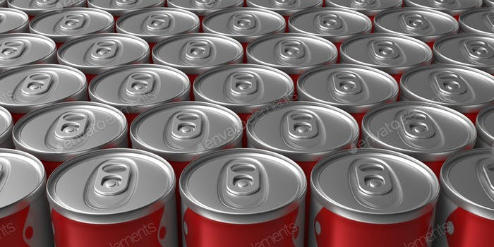 Cola drink cans, soft drink containers background. 3d illustration