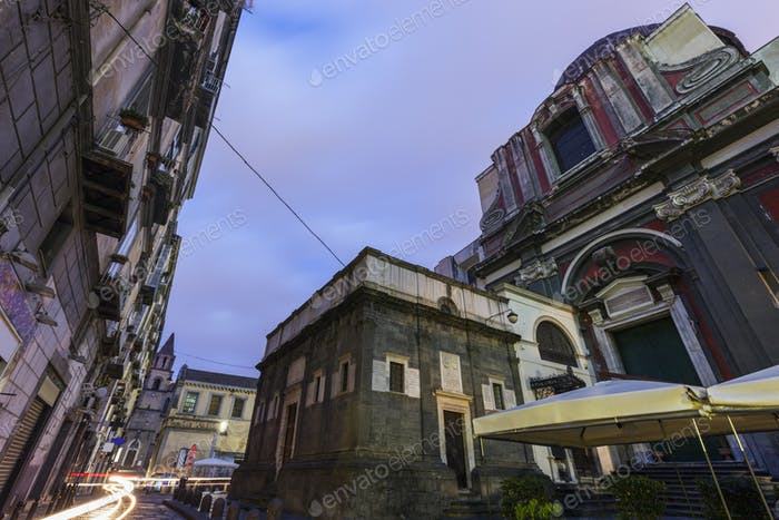 Naples streets at sunrise