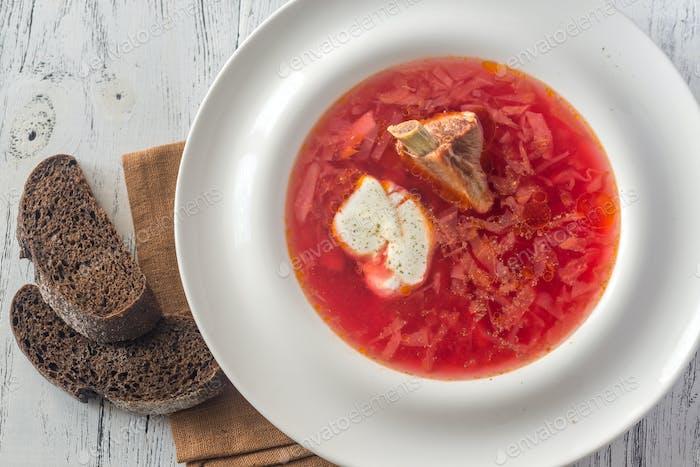 Borsch - Ukrainian traditional beetroot soup