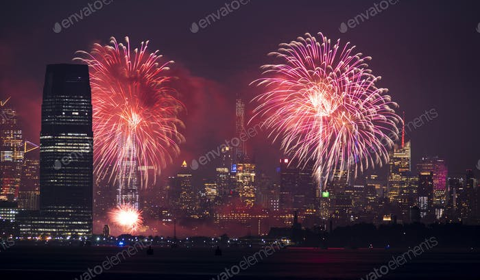 July 4th Celebration 2019 Jersey City and New York Skylines