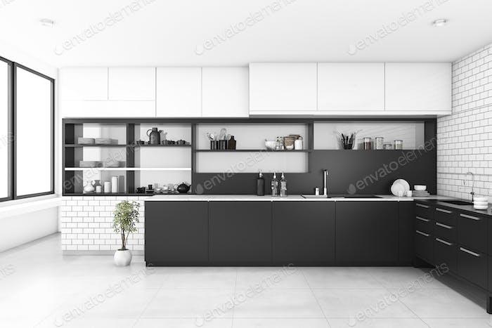 3d рендеринг черная кухня с кирпичной стеной