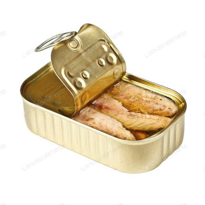Tin of mackerel opened