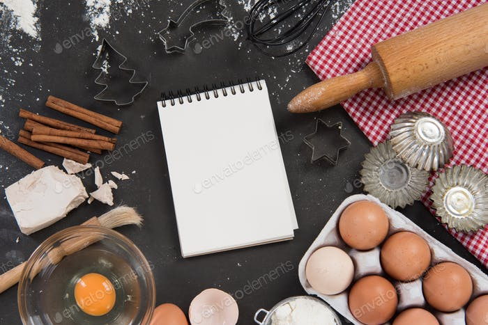 Baking recipe mockup food frame